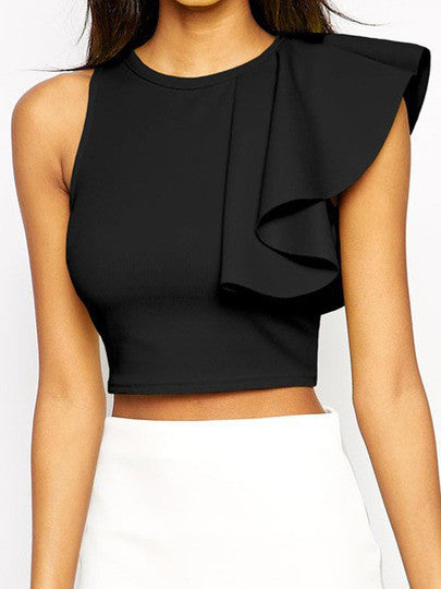 Black Round Neck Ruffle Crop Tank Top - Crystalline