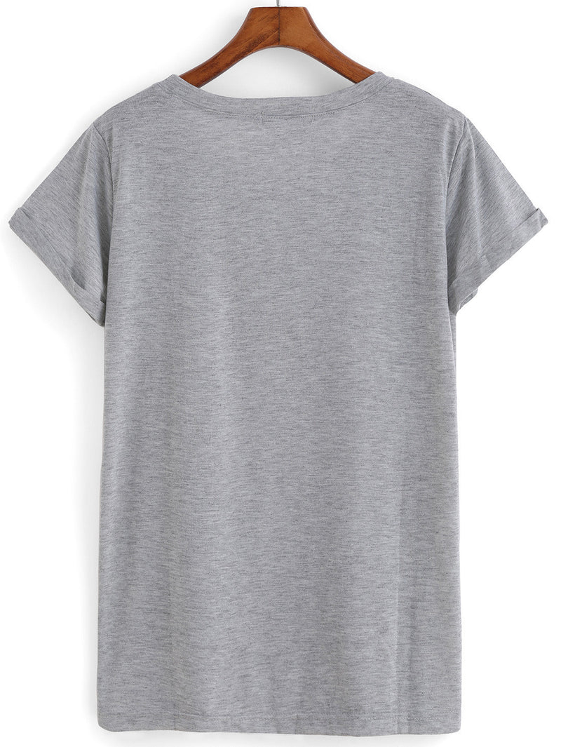 Grey Short Sleeve Hangry Print Loose T-Shirt