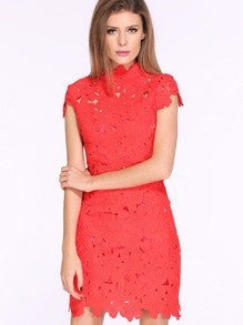 Red Melon Cap Sleeve Crochet Lace Zipper Dress - Crystalline