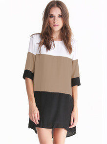 White Coffee Black Color Block Dress - Crystalline