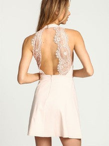 Apricot Halter With Lace Backless Dress Homecoming Party Wedding - Crystalline