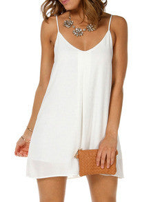 White Spaghetti Strap V Wire Shift Dress Sundresses - Crystalline