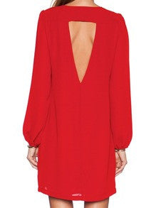 Red Long Sleeve Rouge Backless Dress - Crystalline
