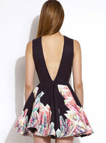 Floral Dress Spring - Black Sleeveless Floral Print Flare Dress - Crystalline