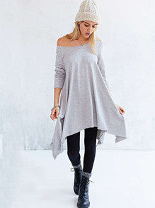 Grey Long Sleeve Asymmetric Loose Dress - Crystalline