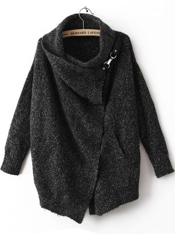 Fall Fashion Black Lapel Long Sleeve Ouch Cardigan Sweater - Crystalline