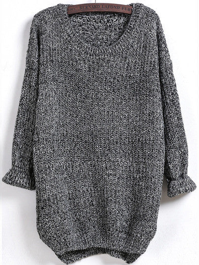Fall Sweater Long Sleeve Dipped Hem Oversized Loose Sweater - Crystalline