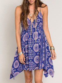 Blue Spaghetti Strap Backless Tradition Vintage Print Dress - Crystalline
