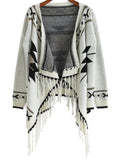 Fall Fashion Beige Long Sleeve Geometric Print Tassel Cardigan - Crystalline