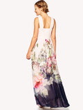 Floral Dress Spring - White Sleeveless Florals Chiffon Maxi Dress - Crystalline