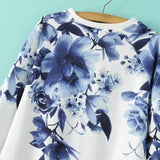 Blue Round Neck Floral Loose Sweatshirt - Crystalline