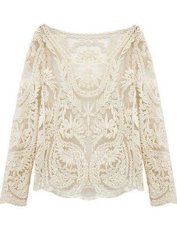 Beige Long Sleeve Hollow Crochet Lace Blouse - Crystalline