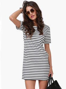 Black White Striped Short Sleeve Straight Dress - Crystalline