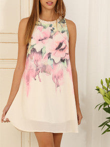 Floral Dress Spring - Multicolour Sleeveless Floral Print Dress - Crystalline