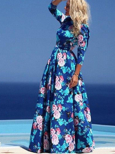 Multicolour Round Neck Long Sleeve Hibiscus Perfect Floral Maxi Dress - Crystalline