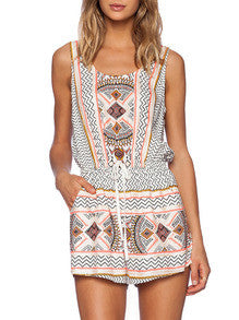 Apricot Sleeveless Tribal Print Playsuit - Crystalline
