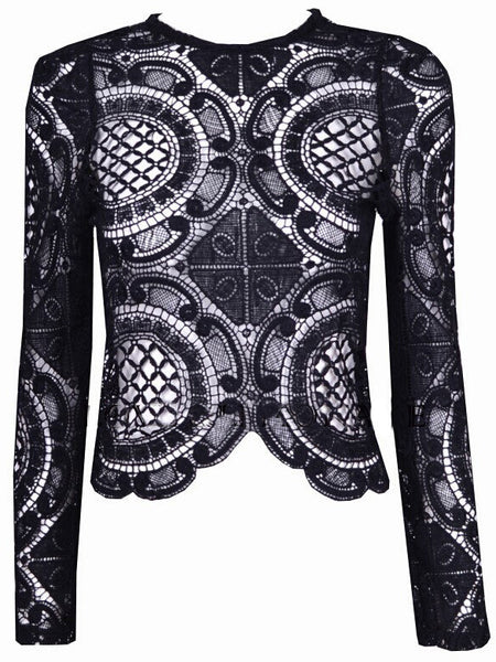 Black Long Sleeve Hollow With Zipper Lace Blouse - Crystalline