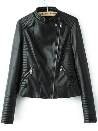 Black Stand Collar Oblique Zipper Crop Jacket - Crystalline