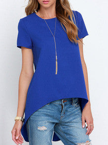 Fall Fashion Blue Short Sleeve High Low Blouse - Crystalline