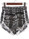 Black Elastic Waist Elephant Print Ball Embellished Shorts - Crystalline