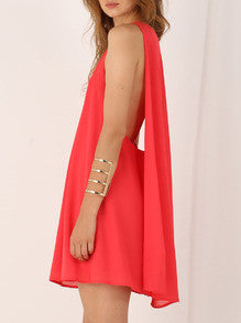 Red Sleeveless V Neck Dress - Crystalline