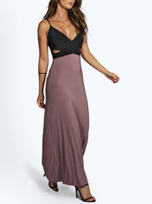 Black Spaghetti Strap Cut Out Color Block Maxi Dress - Crystalline