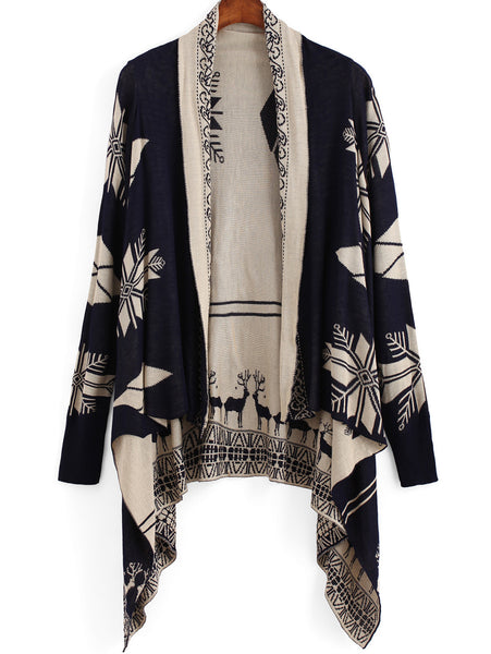 Fall Fashion Navy Long Sleeve Deer Print Cardigan - Crystalline