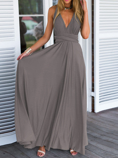 Grey Deep V Neck Self-Tie Maxi Dress - Crystalline