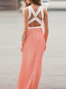 Pink Convertible Sleeveless Color Block Pleated Maxi Dress - Crystalline