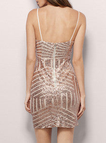 Gold Spaghetti Strap Backless Sequined Dress - Crystalline