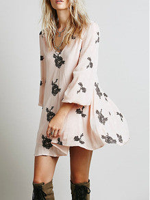 Pink Long Sleeve Backless Embroidered Dress - Crystalline