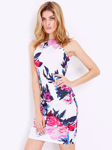 Floral Dress Spring - Multicolour Sleeveless Patterns Floral Print Dress - Crystalline