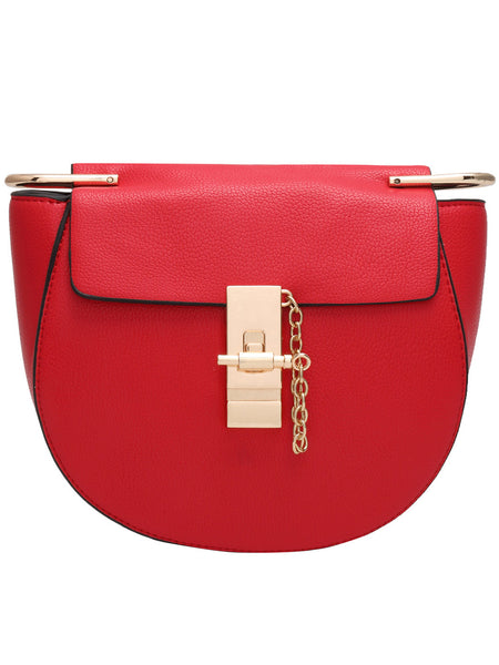 Red Key Buckle Semicircle PU Shoulder Bag - Crystalline
