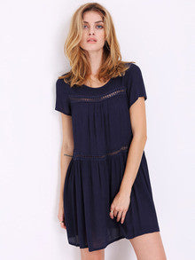 Navy Short Sleeve Shift Dress - Crystalline