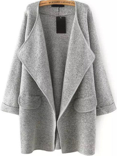 Fall Fashion Grey Lapel Long Sleeve Loose Sweater Coat - Crystalline