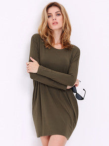 Fall Fashion Green Long Sleeve Casual Dress - Crystalline