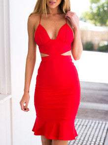Red Spaghetti Strap Backless Cut Out Dress - Crystalline