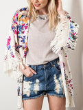 Floral Dress Spring - Fall Fashion Apricot Long Sleeve Floral Print Tassel Kimono - Crystalline