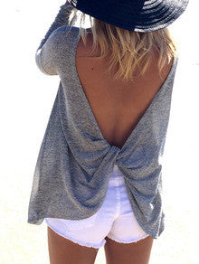 Fall Fashion Grey Long Sleeve Backless Sweater - Crystalline