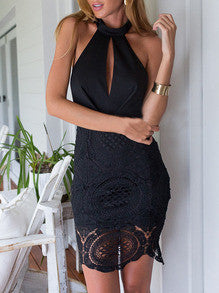 Black Halter With Lace Backless Dress - Crystalline