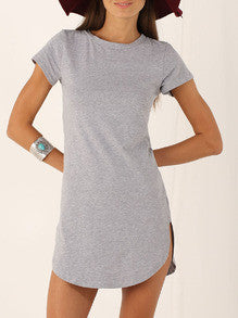 Fall Fashion Grey Short Sleeve Split Dress - Crystalline