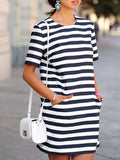 White Short Sleeve Striped Pockets Dress - Crystalline