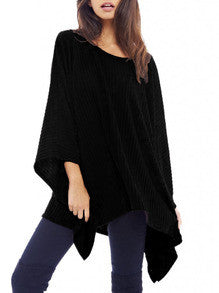 Fall Fashion Black Cape Style Asymmetric Oversized Knitwear - Crystalline