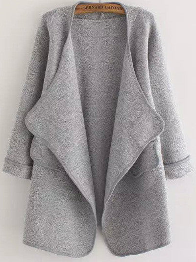 Grey Long Sleeve Stitch Pocket Cardigan