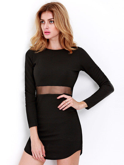 Black Long Sleeve Slim Bodycon Dress - Crystalline
