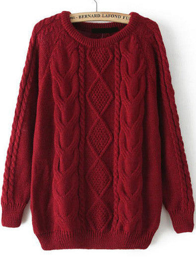 Fall Fashion Cable Knit Loose Burgundy  Red Sweater - Crystalline