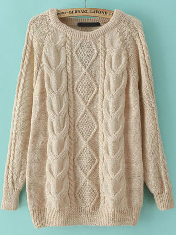 Fall Fashion Cable Knit Loose Apricot Sweater - Crystalline
