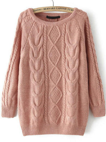Fall Fashion Cable Knit Loose Pink Sweater - Crystalline