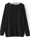 Fall Fashion Cable Knit Loose Black Sweater - Crystalline