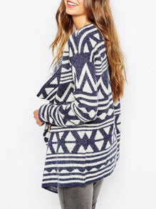Fall Fashion Blue White Long Sleeve Geometric Print Sweater - Crystalline